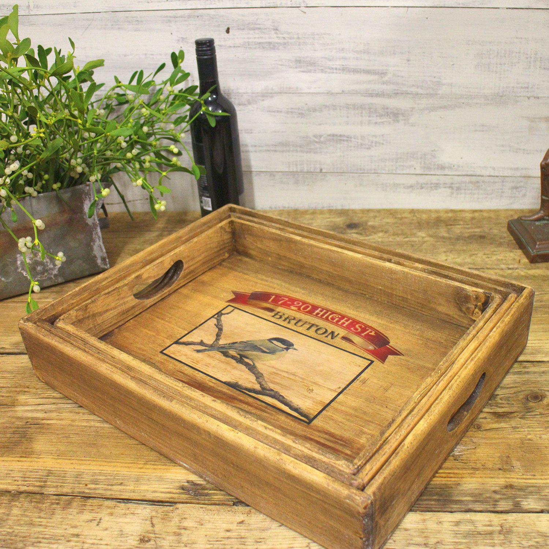 Bruton Somerset Vintage Wooden Serving Tray Single